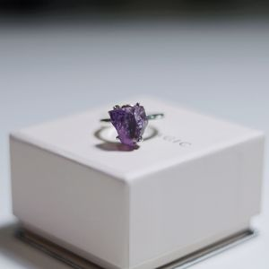 Raw Crystal Amethyst Ring - Sterling Silver